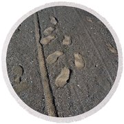 Tire Tracks And Foot Prints Round Beach Towel