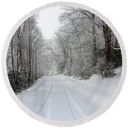Tire Tracks In Fresh Snow Round Beach Towel