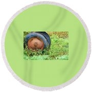 Tired Round Beach Towel