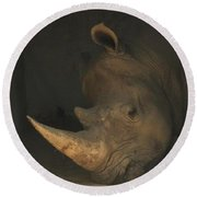 Tired Rhino Round Beach Towel