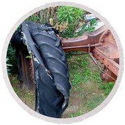 Tired Tractor Tire Round Beach Towel