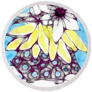 Tired Turtle With Bananas And Blooms Round Beach Towel