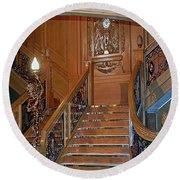 Titanics Grand Staircase Round Beach Towel