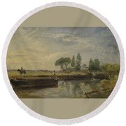 Title Barge Below Flatford Lock Round Beach Towel