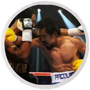 Title Bout Round Beach Towel