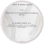 Title Page Of The Origin Of Species By Charles Darwin Round Beach Towel