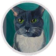 Titter, Cat Portrait Round Beach Towel