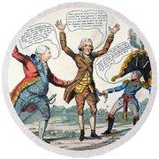T.jefferson Cartoon, 1809 Round Beach Towel