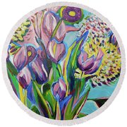 Pink Floral On Blue Round Beach Towel