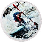 To Conquer White Water Round Beach Towel