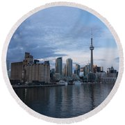 T O Harbour In Blue Round Beach Towel
