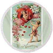 To My Valentine Vintage Romantic Greetings Round Beach Towel