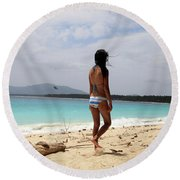 To See Her Again Round Beach Towel