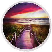 To The Beach Early Morning Watercolor Painting Round Beach Towel