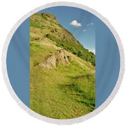 To The Top Of Arthur's Seat. Round Beach Towel