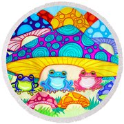 Toads And Toad Stools Round Beach Towel