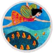 Toadstool Fairy Flies Again Round Beach Towel