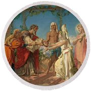 Tobias Brings His Bride Sarah To The House Of His Father Tobit Round Beach Towel