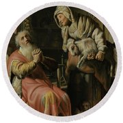 Tobit And Anna With The Kid Round Beach Towel