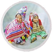 Toddler Dolls Round Beach Towel