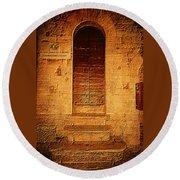 Todi Italy Medieval Door  Round Beach Towel