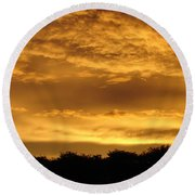 Toffee Sunset 3 Round Beach Towel