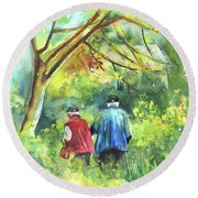 Together Old  In Italy 07 Round Beach Towel