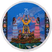 Together We Over Come Obstacles Round Beach Towel