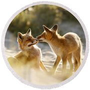 Togetherness - Mother And Kit Moment Round Beach Towel