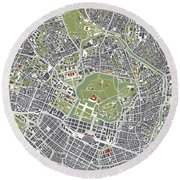 Tokyo City Map Engraving Round Beach Towel