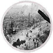 Tokyo Earthquake, 1923 Round Beach Towel