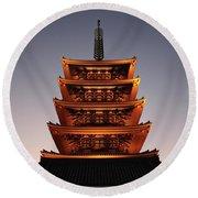 Tokyo Temple Lights At Dusk Round Beach Towel