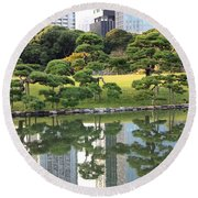 Tokyo Trees Reflection Round Beach Towel by Carol Groenen