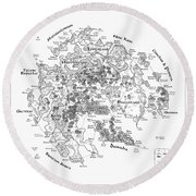 Tolkien Style Map Of Snowflakes Round Beach Towel
