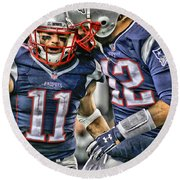 Tom Brady Art 1 Round Beach Towel