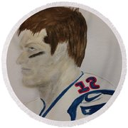 Tom Brady Determined Round Beach Towel