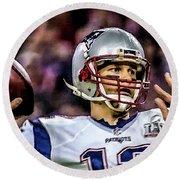 Tom Brady - Touchdown Round Beach Towel