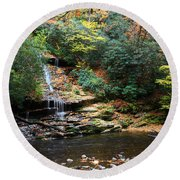 Tom Branch Falls In Nc Round Beach Towel