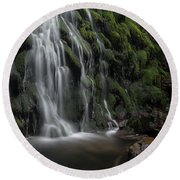 Tom Gill Waterfall, Cumbria, England Round Beach Towel