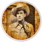 Tom Tyler, Vintage Western Actor Round Beach Towel