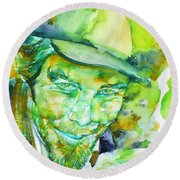 Tom Waits - Watercolor Portrait.5 Round Beach Towel