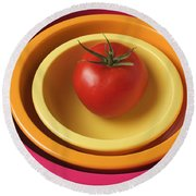 Tomato In Mixing Bowls Round Beach Towel