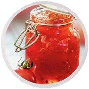 Tomato Jam In Glass Jar Round Beach Towel