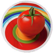 Tomato On Plate With Circles Round Beach Towel by Garry Gay