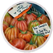 Tomatoes At Market Round Beach Towel