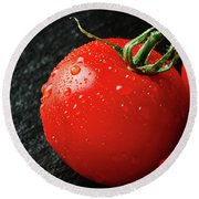 Tomatoes Close Up On Black Slate Round Beach Towel