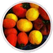 Tomatoes Matisse Round Beach Towel