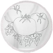 Tomatoes On A Vine In One Line Round Beach Towel