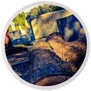 Tombstones Round Beach Towel