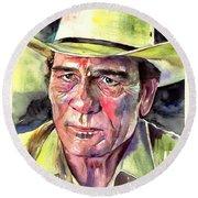 Tommy Lee Jones Portrait Watercolor Round Beach Towel